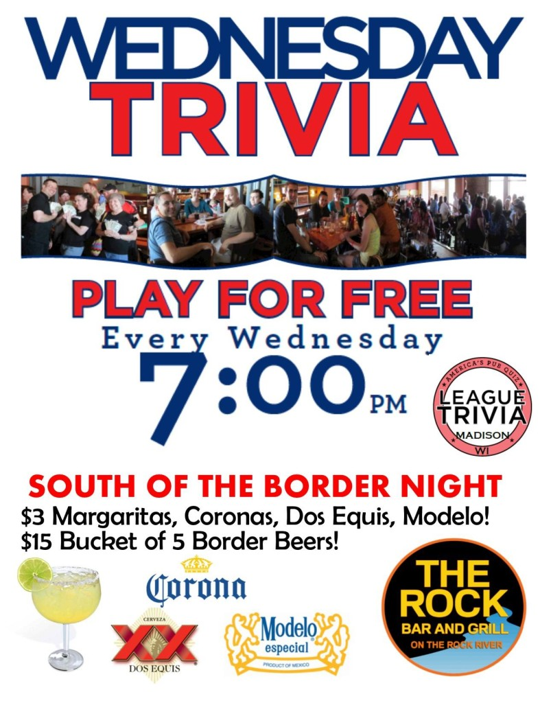 Trivia Wednesdays @ The Rock Bar and Grill | Beloit | Wisconsin | United States